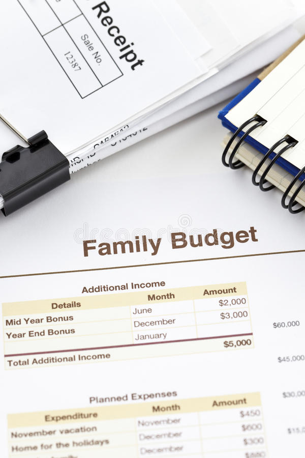 Family Budget. Spreadsheet printout, pile of receipts and a spiral notebook stock images