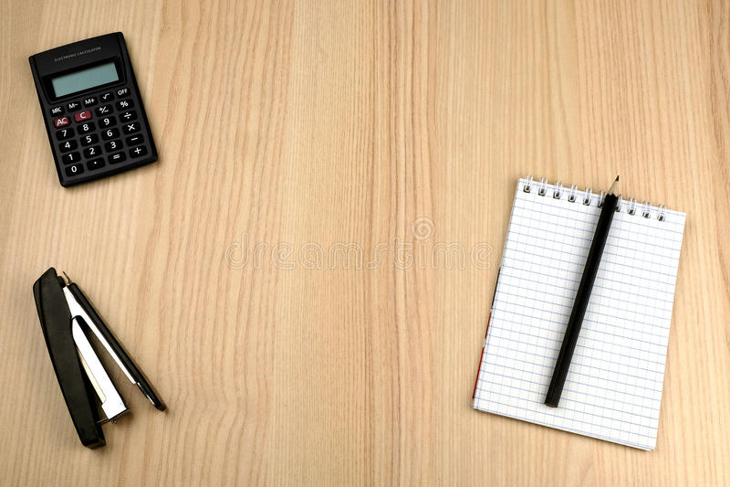 Family Budget Calculator Notepad Pencil Stapler Stock Photo