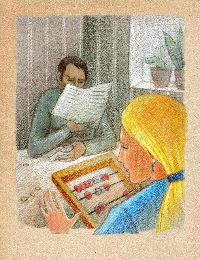 Family budget. Family scene: A young woman counts money with the help of an abacus. A man is reading a newspaper. Family scene: A young woman counts money with royalty free illustration