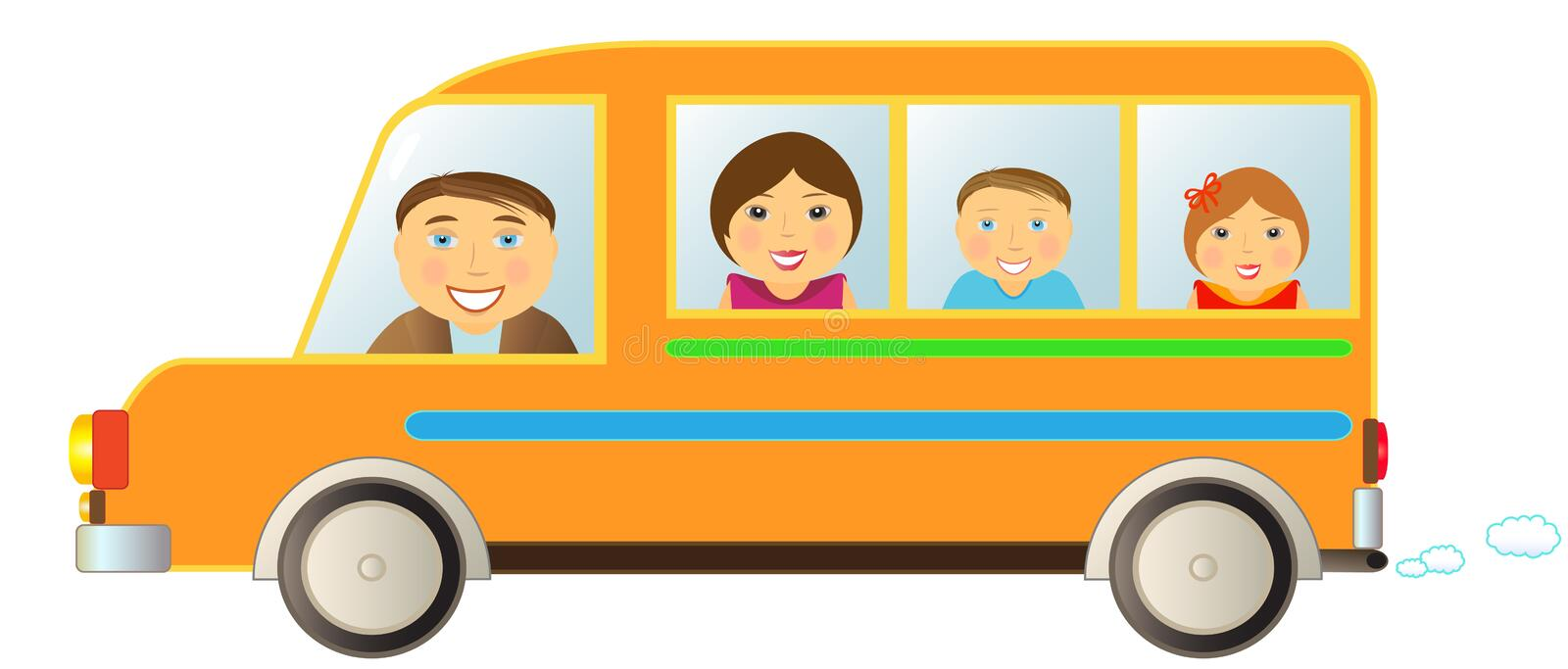 Download Family in bus stock vector. Image of smoke, minibus, family - 21878862