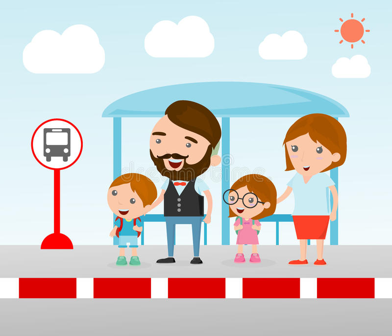 Family at the bus stop, A vector illustration of Family waiting at a bus stop, Waiting at Bus Stop. royalty free illustration