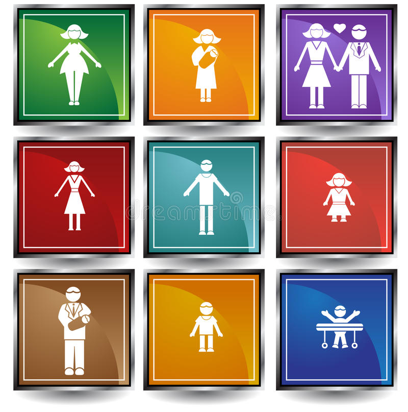 Download Family Button Set stock vector. Illustration of internet - 9395461