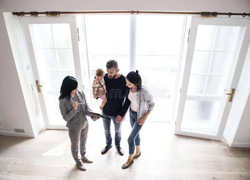 Family buying new house together stock photo