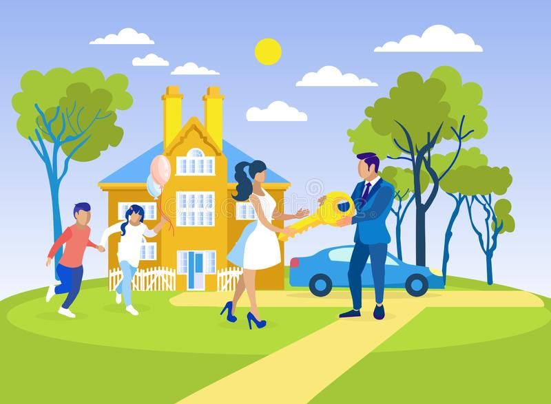 Family Buying or Renting New Home Flat Cartoon vector illustration