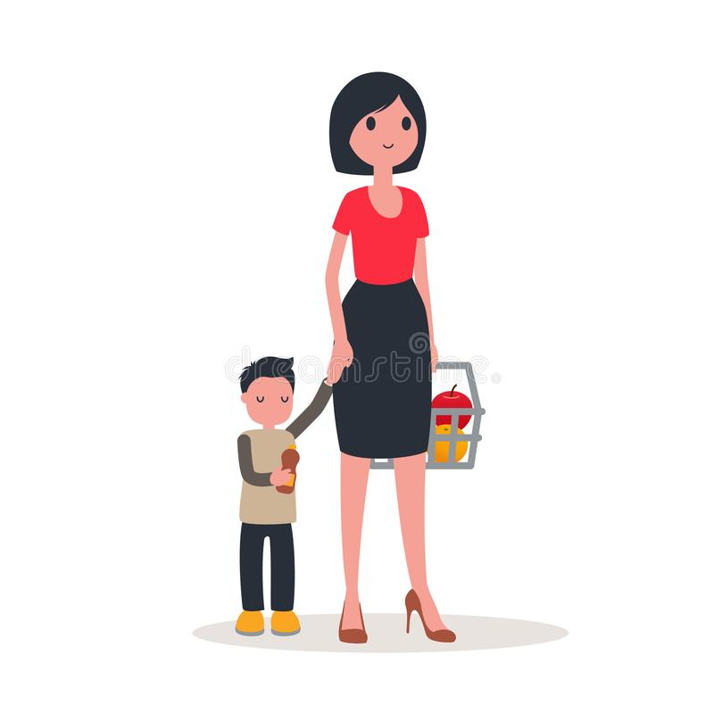 The family buys food. Flat style. Vector vector illustration