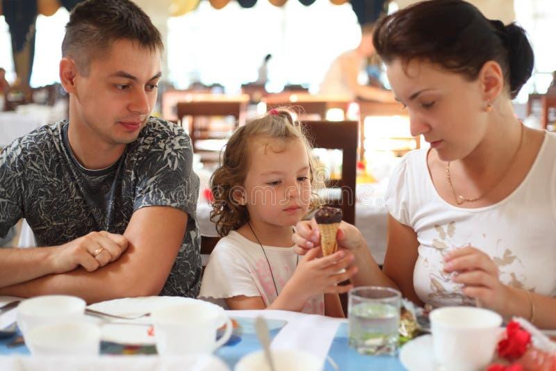 Family in cafe