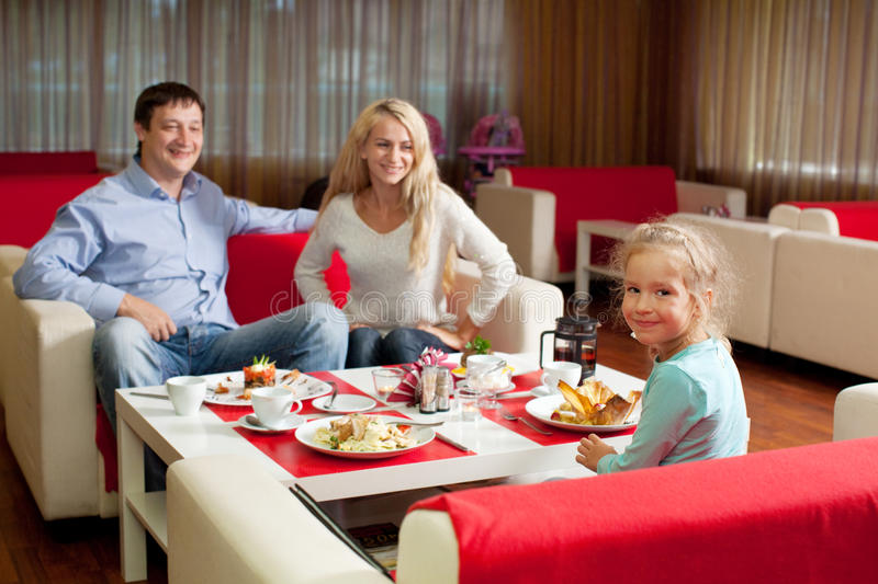 Download Family in cafe stock photo. Image of child, 35, eating - 26264996