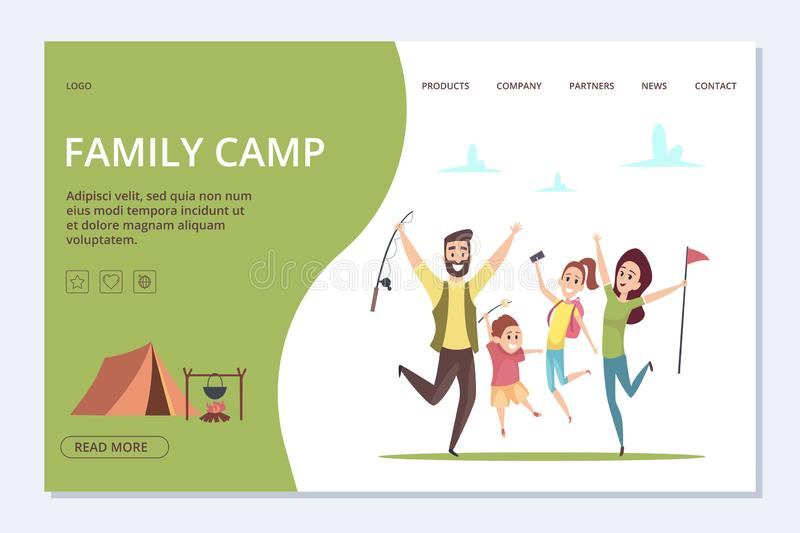 Family camp landing page. Vector happy cartoon family, adventure time banner royalty free illustration