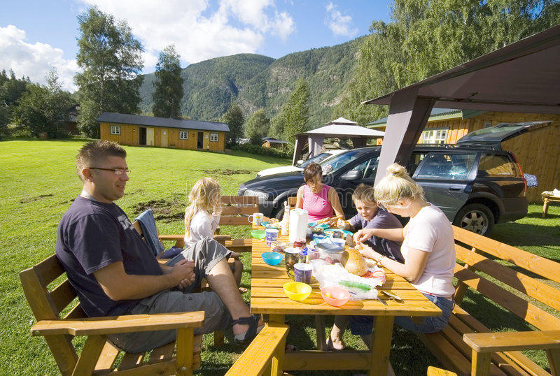 Family camp meal royalty free stock photos