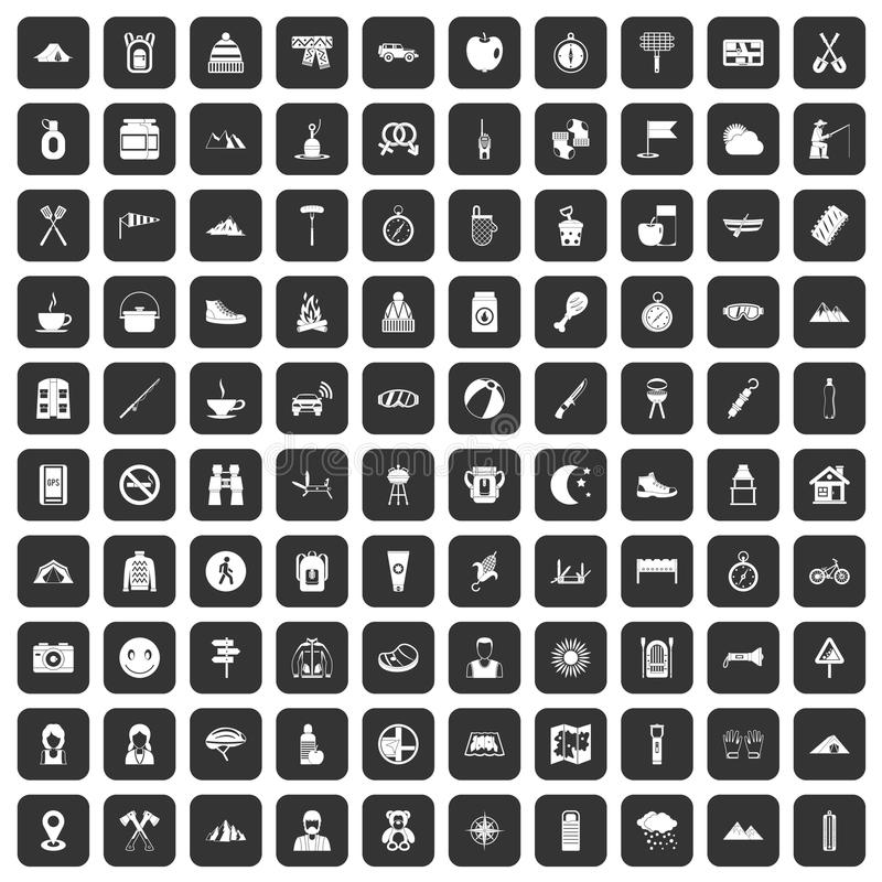 Download 100 Family Camping Icons Set Black Stock Vector