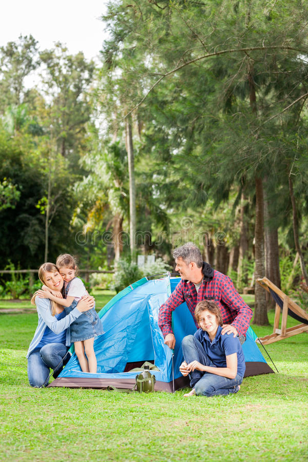 Family Camping In Park stock photos