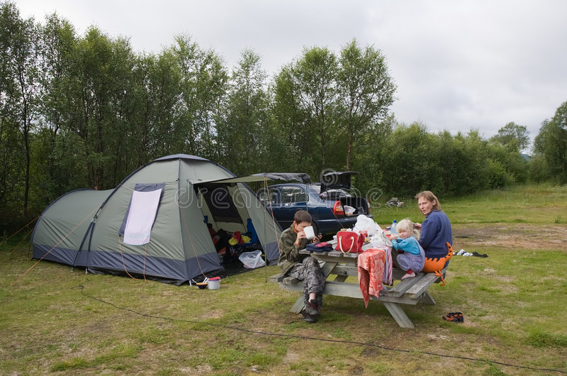 Family on camping rest royalty free stock photos