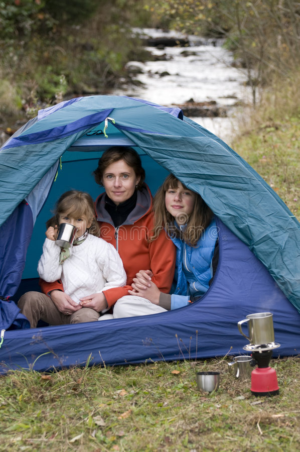 Download Family camping in tent stock photo. Image of group, happy - 6808824
