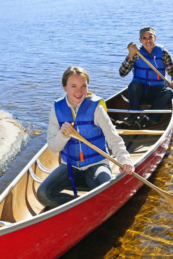 Family canoe trip stock image