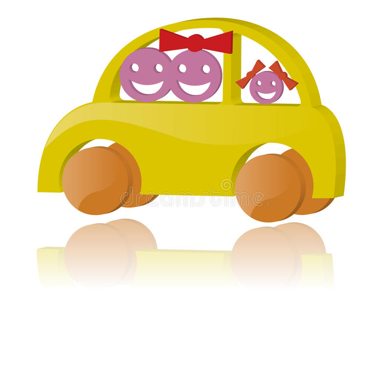 Download Family in the car stock vector. Image of girl, automobile - 18423922