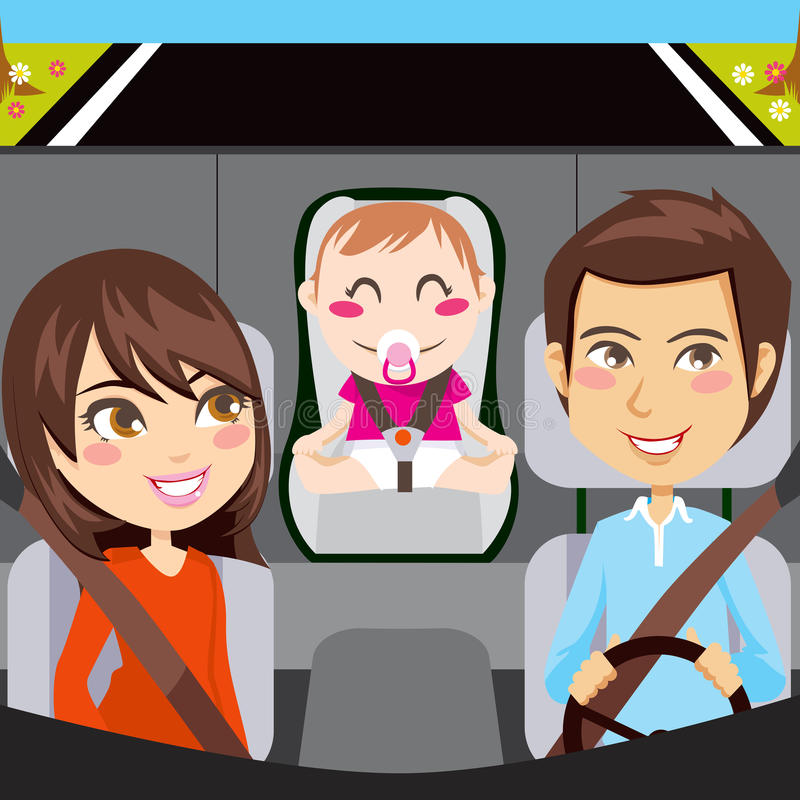 Download Family Car stock vector. Image of safe, belt, cute, happy - 18942810