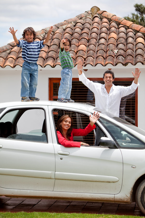 Download Family with a car stock photo. Image of children, happy - 8572172