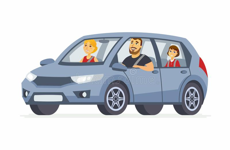 Family in the car - cartoon people character isolated illustration stock illustration