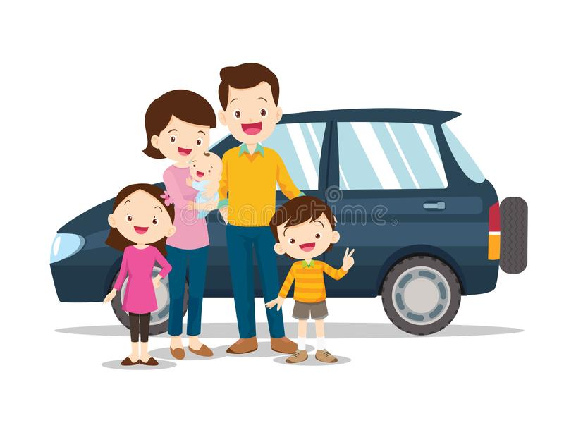 Family and car.Happy family with a car. On a white background royalty free illustration