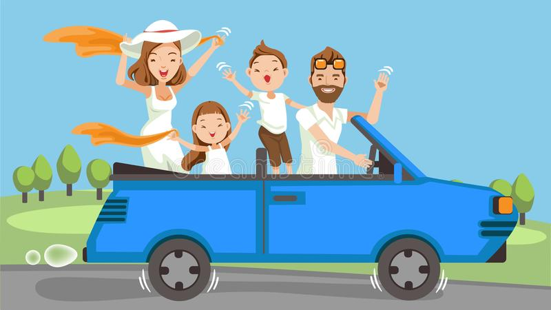 Family in car. Happy family traveling by Blue car Convertible. People set father, mother and children.Waving, smiling and laughing. sitting in automobile and royalty free illustration