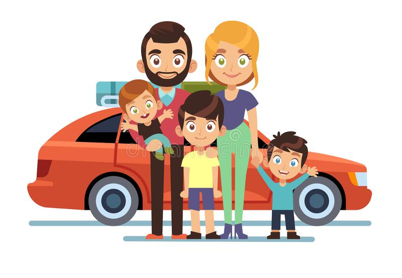 Family car. Happy young parents father mother kids pet auto lifestyle people automobile travel vacation road trip flat. Vector design smiling persons with stock illustration