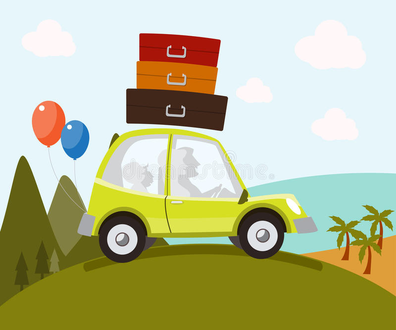 Family in car - Illustration royalty free illustration