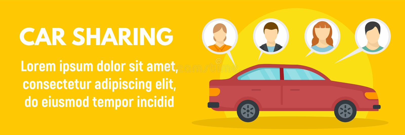 Family car sharing concept banner, flat style. Family car sharing concept banner. Flat illustration of family car sharing vector concept banner for web design vector illustration