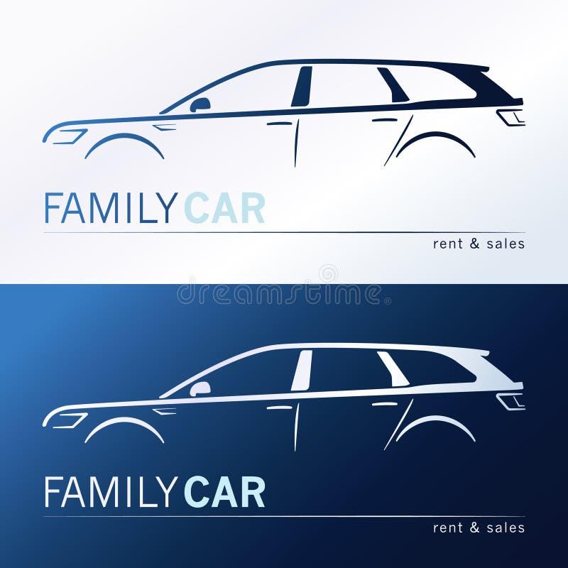 Family car silhouettes vector illustration