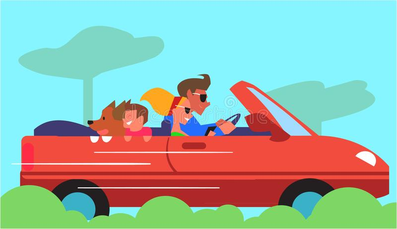 Family Car Traveling Flat Design Colorful Concept stock illustration