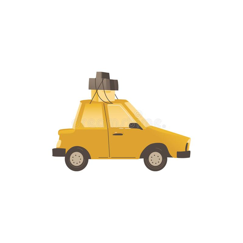 Family car used in the house relocation flat vector illustration isolated. stock illustration