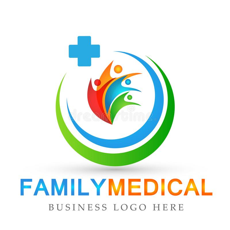 Family care globe people health care concept symbol icon design vector on white background. Family care globe people health care concept on white background royalty free illustration