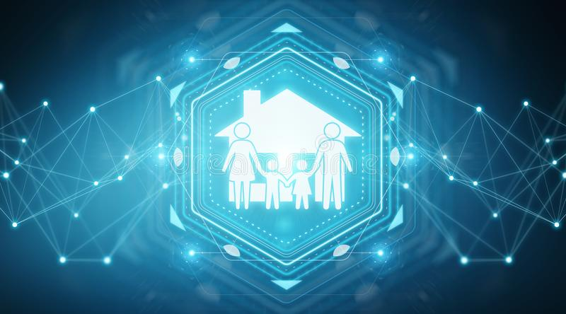Family care insurance application interface 3D rendering. Family care insurance application interface isolated on blue background 3D rendering royalty free illustration