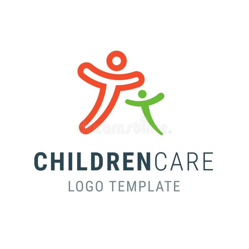 Children care logo. People logo template. Family vector symbol. Happy people hug. Logo template. Family care logo. People symbol. Vector logo template stock illustration