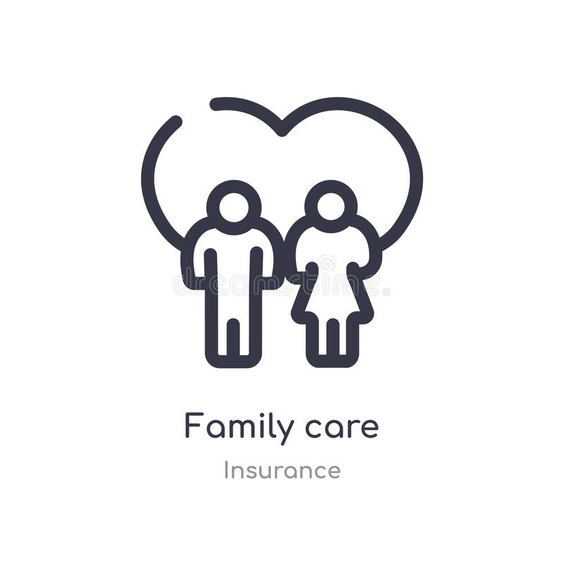 Family care outline icon. isolated line vector illustration from insurance collection. editable thin stroke family care icon on. White background royalty free illustration