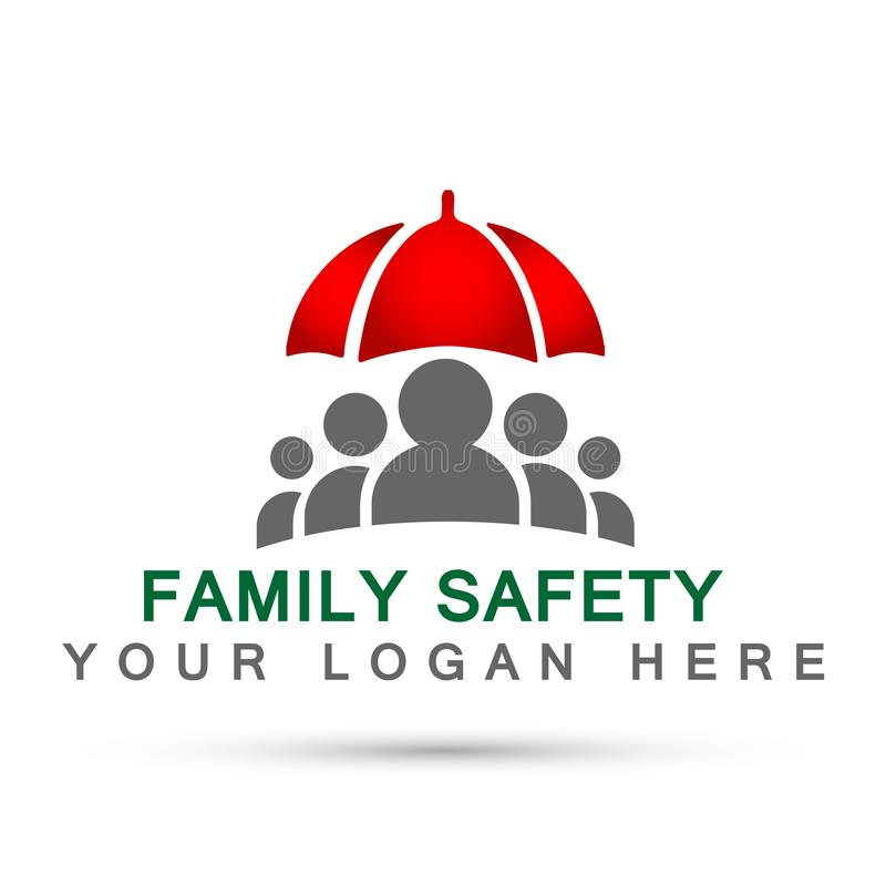 Family care people health care red concept symbol icon design vector on white background. Family care people safety health care concept symbol icon design vector stock illustration