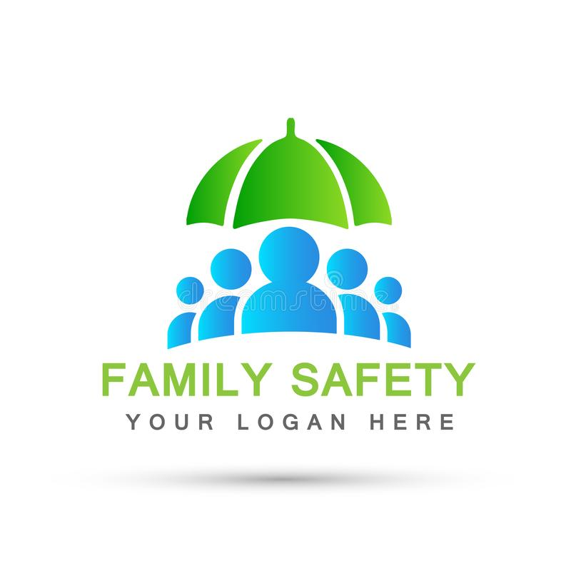 Family care people health care concept symbol icon design vector on white background. Family care people safety health care concept symbol icon design vector on royalty free illustration
