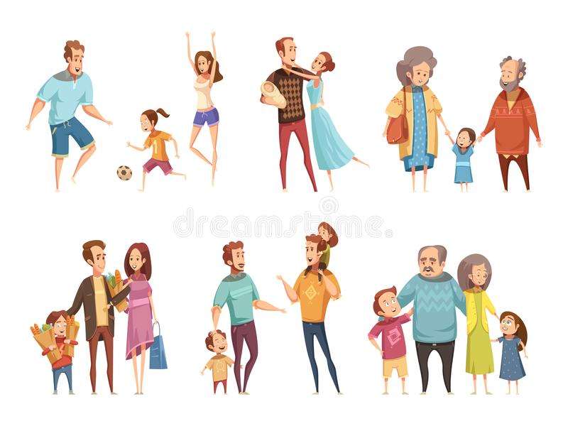 Family Cartoon Set. With parents grandparents and children isolated vector illustration stock illustration