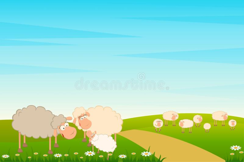 Family of cartoon sheep royalty free illustration