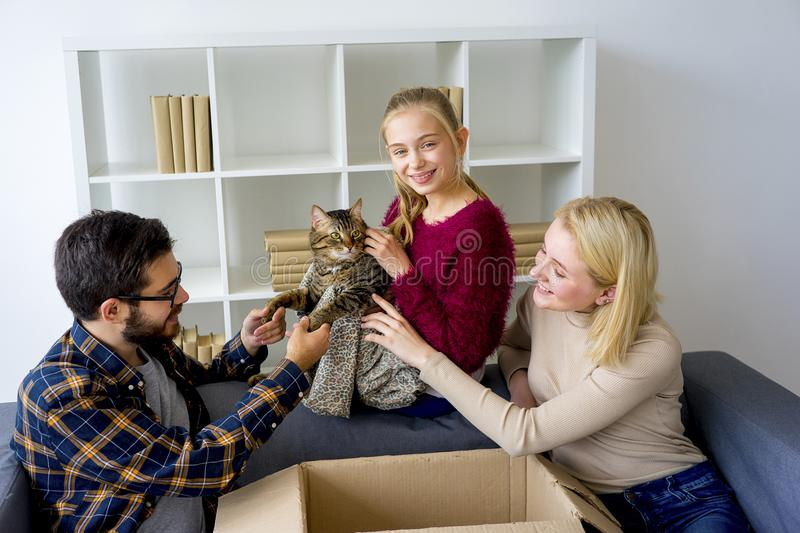 Family with a cat stock image