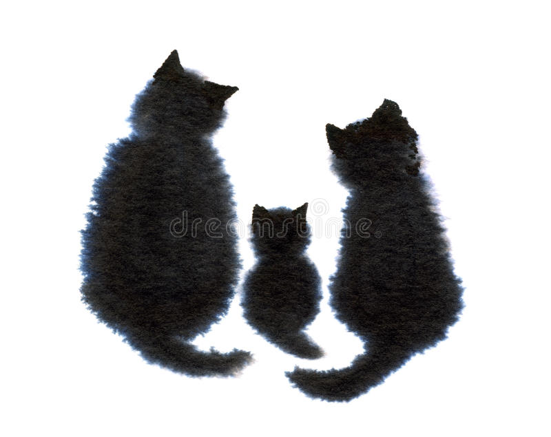 Family of Cats. An ink-blot illustration of a family of cats royalty free stock images