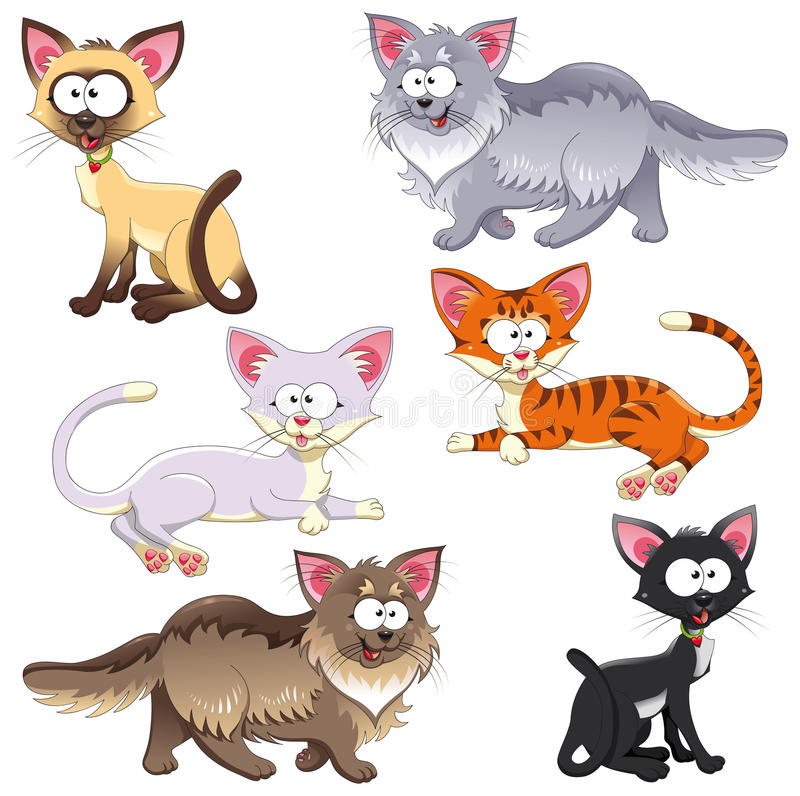 Family of cats. Funny cartoon and animal characters. Isolated objects
