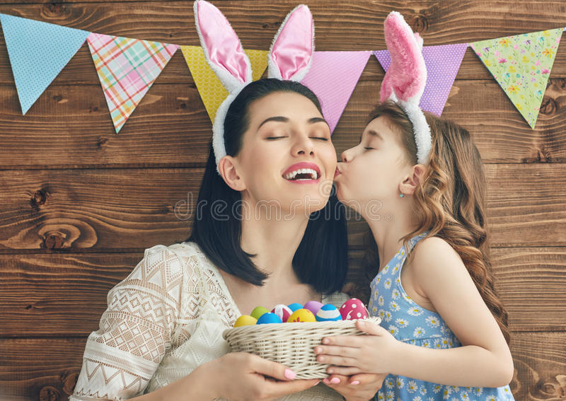 Family celebrate Easter stock images