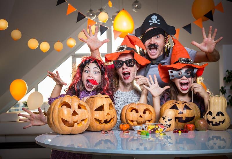 Family celebrates halloween royalty free stock photography