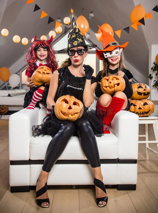 Family celebrates halloween royalty free stock images