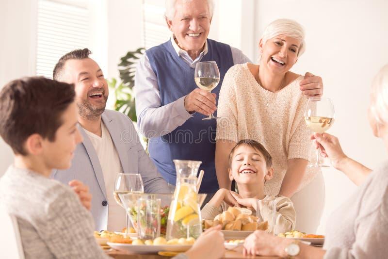 Family celebrating anniversary royalty free stock photo
