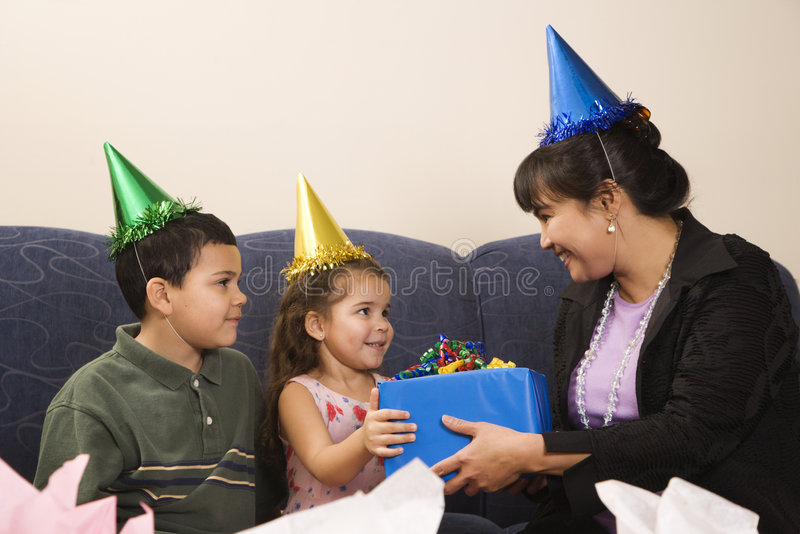 Family celebrating birthday. royalty free stock images