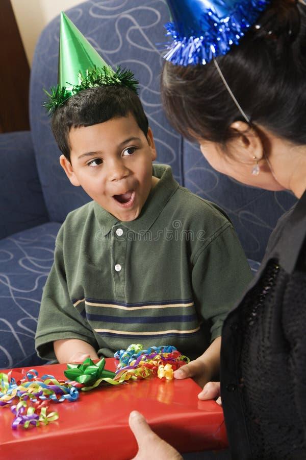 Family celebrating birthday. stock image