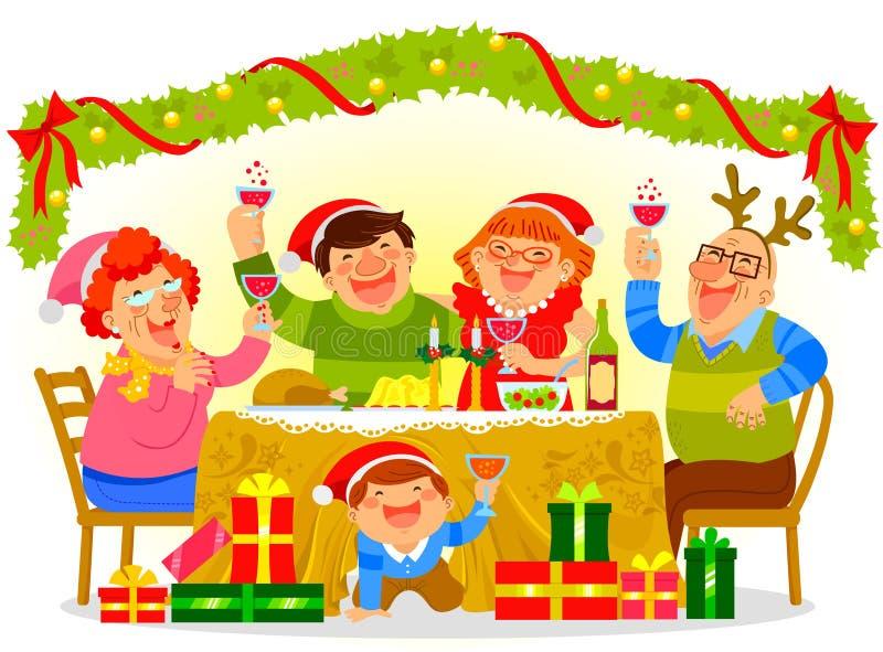 Family celebrating Christmas vector illustration