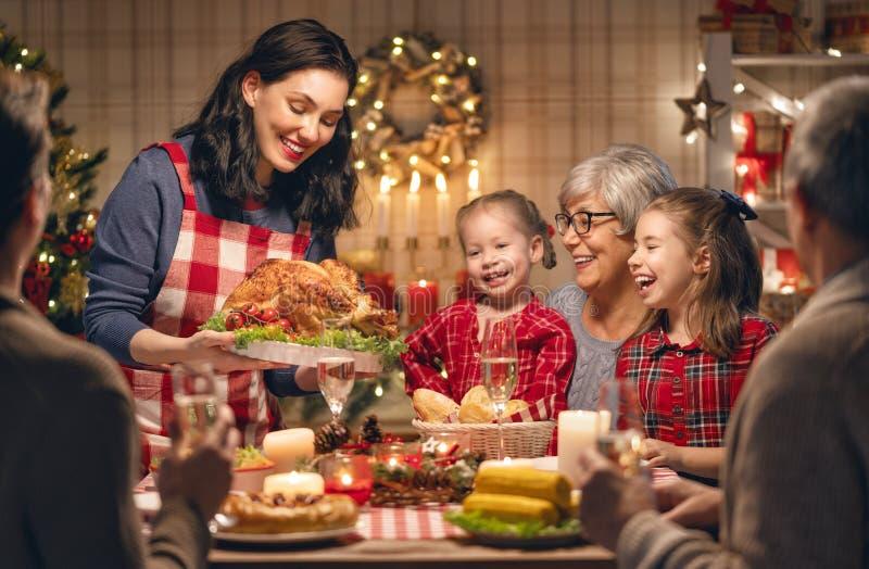 Family celebrating Christmas stock photos