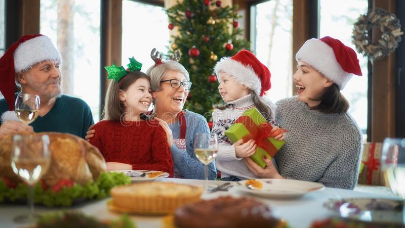 Family celebrating Christmas royalty free stock photos